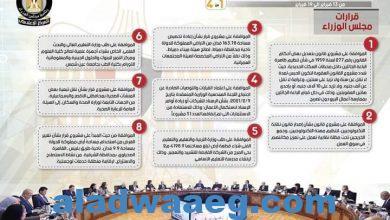 صورة بالإنفو جراف .. تقرير الحصاد الأسبوعي لمجلس الوزراء خلال الفترة من 13 فبراير إلى 19 فبراير