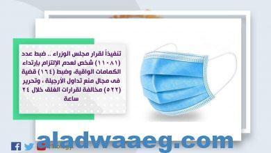 صورة ضبط عدد (11081) شخص لعدم إرتدائهم الكمامات الواقية