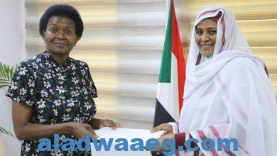 صورة وزيرة الخارجية تتسلم نسخة من اوراق اعتماد سفيرة جنوب افريقيا