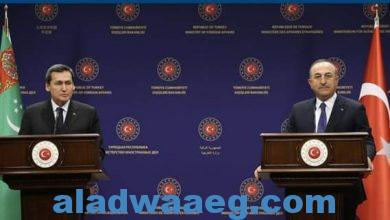 صورة مباحثات بين وزيري الخارجية التركي والتركمانستاني بأنقرة