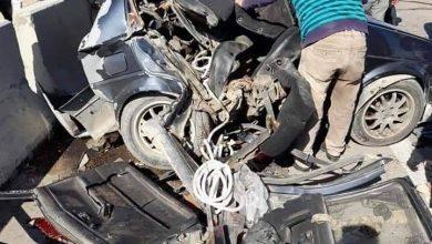 صورة حادث على الطريق الصحراوى بعد الرست
