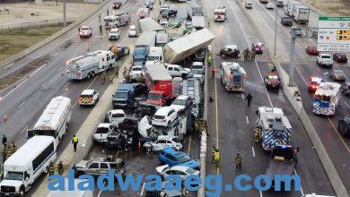 صورة حادث مروري ضخم في ولاية تكساس الأمريكية.