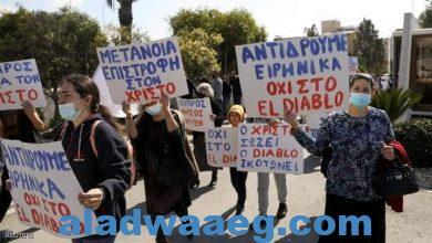 صورة من الاحتجاجات القبرصية على الأغنية الشيطانية
