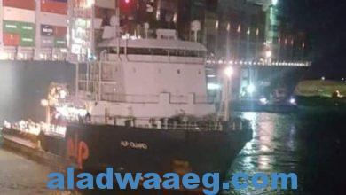 صورة وصول القاطرة الهولندية للمساعدة في عمليات السفينة الجانحة في القناة