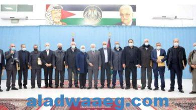 صورة إجتماع لحركة فتح برئاسة محمود عباس لمناقشة الوضع علي الساحة