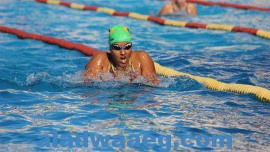 صورة طالبة بالجامعة المصرية اليابانية تحصد المركز الثالث فى بطولة السباحة