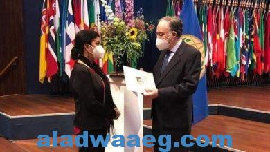 صورة السفيرة الفلسطينية تسلم منظمة حظر الأسلحة الكيميائية رسالة حول تأسيس اللجنة الوطنية الفلسطينية