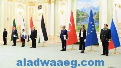 صورة السفيرة المصرية في طشقند تقدم أوراق اعتمادها لرئيس جمهورية أوزبكستان
