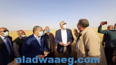صورة وزيرا الزراعة والانتاج الحربى ومحافظ المنيا، يتفقدون مشروع استزراع 20 ألف فدان بمنطقة غرب المنيا