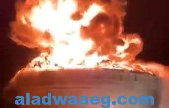 صورة اندلاع حريق كبير في مصفاة النفط الإسرائيلية