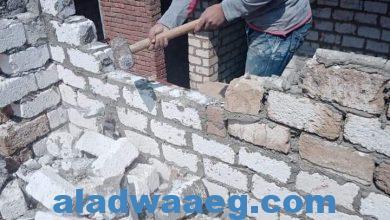 صورة بالصور : إزالة حالة تعدى بالبناء بدون ترخيص فى المهد بالدور الثالث بأحد المنازل بصفط اللبن التابعة لقرية البرجاية
