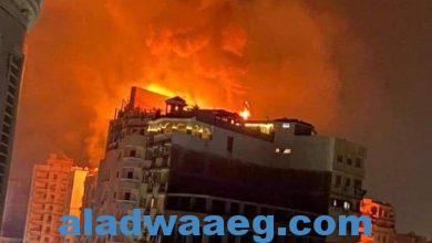 صورة حريق كبير بطنطا في أحدي المباني المجاورة لفندق